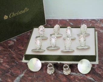 CHRISTOFLE Boxed (Rare) Set of 12 - Vintage French Art Deco Silver Plate- 4 BONUS Place Card Holders- Mint Condition - PERFECT For Parties