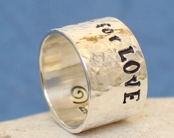 Personalized sterling silver Ring.. Wedding Band.. Men's / women's hammered Ring.. Handmade Custom Ring..