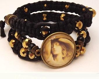 Black macrame bracelet, Locket Angel, gold, bracelet Angel, spiritual bracelet, bracelet guardian angel, Cabochon bracelet