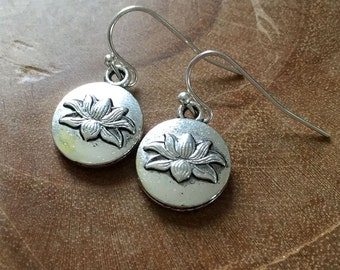 Lotus - silvertone dangling earrings with round metal charm with lotus flower - boho, bohemian, ibiza, gypsy, hippie, zen, trend