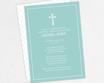First Communion Invitation, First Holy Communion Invitation, Religious, Printed, PDF, DIY Communion Invitation, Boy Invitation, Blue, Daniel