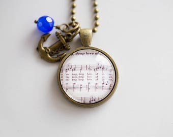 Music Pendant Necklace - O the Deep Deep Love of Jesus - Inspirational Jewelry - Music Jewelry - Hymn - Gaelic Tune - Christian Song Francis