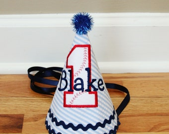 Baseball Birthday Hat - Baseball theme in Navy blue, red, and white - Free personalization