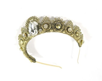 Sofia Gold Crown with Clear Glass Gemstones - by Loschy Designs