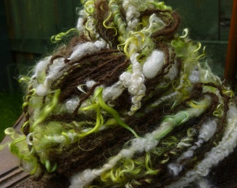 Handspun Art Yarn, Chunky Bulky Yarn, Curly yarn, Hand-dyed Yarn, Thick & Thin yarn, PEAR BLOSSOM