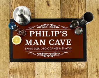Gentlemen's Man Cave Bar Mat - Brown - Father's Day Present - Drip Mat - Cocktail Hour - Beer - Ale - Draft - Personalised - Dad Gift - Papa