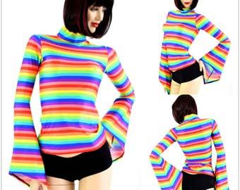 Bright Rainbow Horizontal Stripe Pixie Sleeve Mock Turtle Neck Full Length Spandex Top - 154273