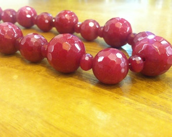 SOLD via Art Fair - Faceted Red Jade Necklace