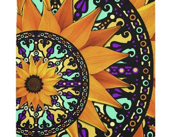 Radiating Sunflower Tapestry - Sunflower Talavera 1 - Colorful Floral Artwork on Lightweight Polyester Fabric