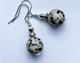 Dalmation Jasper earrings; Handcrafted UK Earrings; OOAK Dalmation Jasper earrings; Short Drop Dalmation jasper Earrings;  Optional Gift Box