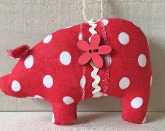 red white polka dots - pig ornaments - handmade Christmas ornaments - country cottage - primitive country decor - holiday decorations - pigs