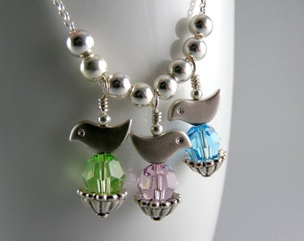 Mother's Birds Nest Heirloom Personalized Swarovski Necklace Custom for Three Children with Free USA Shipping