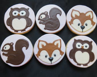 1 dozen Woodland Animal Decorated Cookies