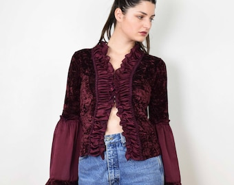 90s lace corset, corset top, burgundy top, bell sleeves, angel sleeves top, lace 90s top, grunge top, long sleeved top, small size