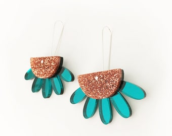 Earth Goddess dangle drop earrings - copper glitter and teal mirror acrylic