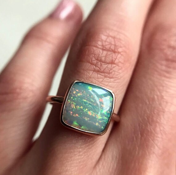 14K rose gold ring with Australian white rainbow opal SZ 6