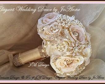 Pink,Rose Gold and Gold Brides Wedding Brooch Bouquet, Rose Gold Brooch Bouquet, Custom Brooch Bouquet - DEPOSIT ONLY