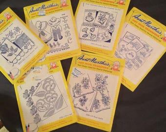 Six Vintage Aunt Martha's Transfers Hot Iron Transfers