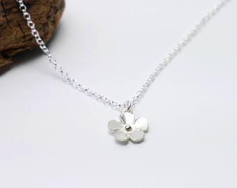 Small Sakura flower pendant in sterling silver