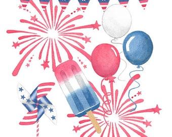 Watercolor 4th of July Set, Patriotic, Fireworks, Popsicle, Balloons, Independence