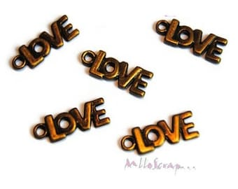 "Set of 5 charms ""love"" embellishment scrapbooking.* bronze"