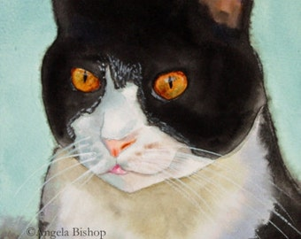 Cat Painting Print, Cat Print, Art Print, Reproduction, Cat, Pet, Portrait, 5 x 7, Realism, Giclee, Watercolor, Painting, Portrait, Kitty