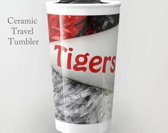 Cheer Travel Tumbler-Ceramic Travel Tumbler-Coffee Tumbler-Ceramic Mug-12 oz Travel Tumbler-School Spirit-Insulated Travel Tumbler
