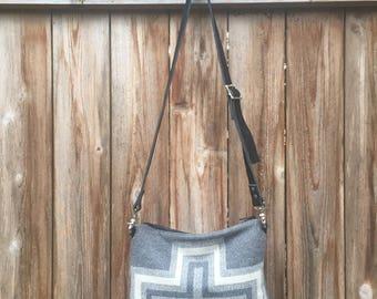Southwestern Tribal Wool and Leather Cross body Bag-San Miguel-Boho Womens Wool and Leather Shoulder Bag-Black Leather Bag-Tribal Handbag