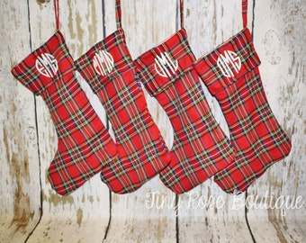 Plaid Christmas Stockings, Personalized Holiday Stocking - Name or Monogram Included