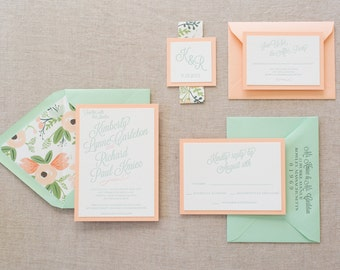 Letterpress Kimberly Suite with Floral Envelope Liners and Monogram Belly Band