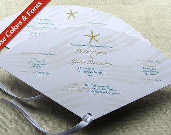 Starfish Wedding Programs - Beach Fan Ceremony Program - Destination Wedding Program - Palm Leaf