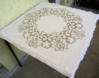 Vintage Tablecloth, Beige Tablecloth with Embroidered Flowers, Retro Machine Embroidered Floral Tablecloth, Beige Table Linens