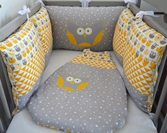 Bumper and sleeping bag 0-6 months grey yellow OWL and stars