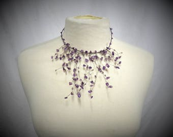 Wire Bib Necklace with Amethyst, Crystals, and Oxidized Sterling Silver Wire- Whimsical Airy Woodland Bib Necklace