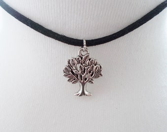 tree choker - tree necklace - fashion jewellery - handmade jewellery - black cord choker necklace - gift for her - short necklace
