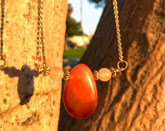 CARNELIAN & SUNSTONE Crystal Necklace on Antique Gold Chain | Genuine Teardrop Pendant, Unisex Crystal Healing Necklace