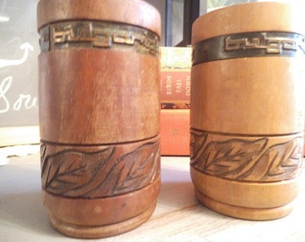 2 Vintage Bulgartabac ~ Tobacciana ~ Tobacco ~ carved wooden and brass cups ~ cigar holders