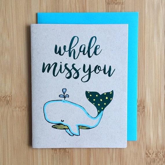 whale miss you goodbye card handmade farewell miss you card
