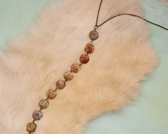 Crazy Lace Agate Coin Beaded Y-Necklace - Semi-Precious Stone Drop Necklace - Long Beaded Stone Statement Necklace - Handmade Boho Jewelry