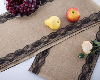 """Natural Jute Burlap Table Runner with Black Lace 12"""" Wide, Vintage Wedding Decorations, Bridal Shower, Baby Shower, Rustic Decor."""