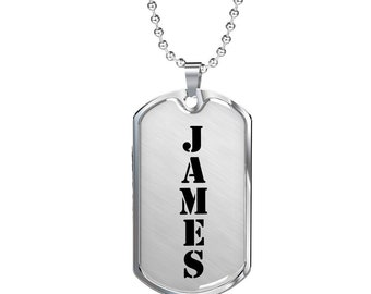 Name Tag Necklace, Your Name Necklace, Mens Necklace - Custom Name Luxury Dog Tag Necklace, Dog Tag Pendant