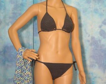 Hand Crocheted Swimsuit Cover, Beach Skirt, String Bikini with Matching Beach Cover, 3 piece Knit Bikini set, Sunbathing Bikini with Wrap