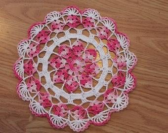 New Hand Crocheted Doily - shaded pink and white