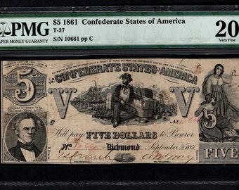 1861 Five 5 Dollar T-37 Confederate Currency PMG 20 Very Fine Civil War Note Item #5012316-006