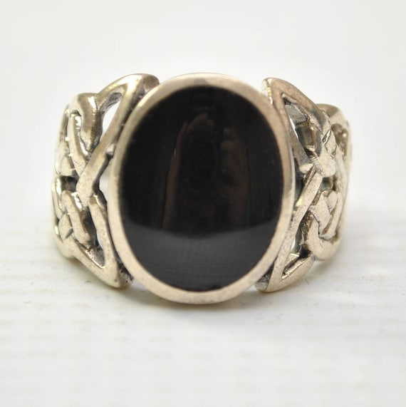 Onyx Large Oval Filigree in Sterling Silver Ring Sz 11 #8776