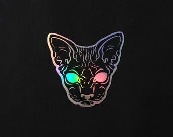 Creepy Hairless Cat Holographic Sticker