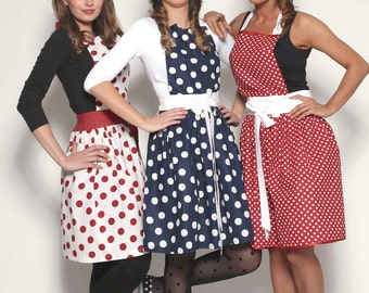 LUXURY CHIC&Lovely apron RETRO Dots 4 colors