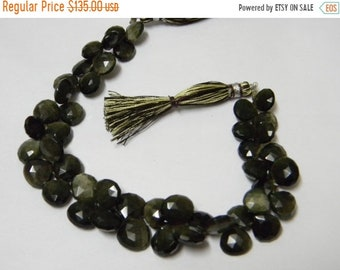 8 inch strand -- 8 - 11 mm approx-- Fine Quality Green Cats Eye Faceted Heart Briolettes