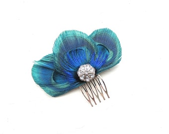 ZAZA Turquoise Peacock Feather Hair Comb, Feather Fascinator