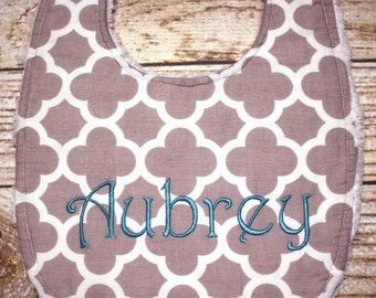 Personalized Baby Bib - Baby Toddler Bib - Quatrefoil Triple Layer Chenille Bib, Adjustable Size from Infant to Toddler - Monogrammed Baby